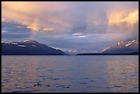 Sunset and rainbow, Naknek lake. Katmai National Park, Alaska, USA.