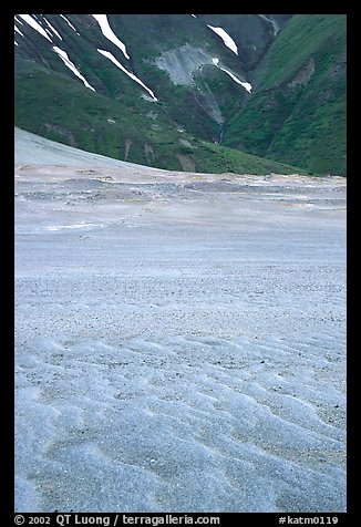 Ash formation on the floor of the Valley of Ten Thousand smokes, below the green hills. Katmai National Park (color)