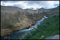 The Lethe river carved a deep gorge into the ash of the Valley of Ten Thousand smokes. Katmai National Park, Alaska, USA.