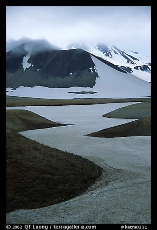 Snow is still present in early summer, Valley of Ten Thousand smokes. Katmai National Park (color)