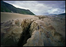 Gorge carved by Lethe River ash floor of Valley of Ten Thousand smokes. Katmai National Park ( color)