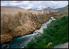 The Lethe river carved a deep gorge into the ash of the Valley of Ten Thousand smokes. Katmai National Park, Alaska, USA. (color)