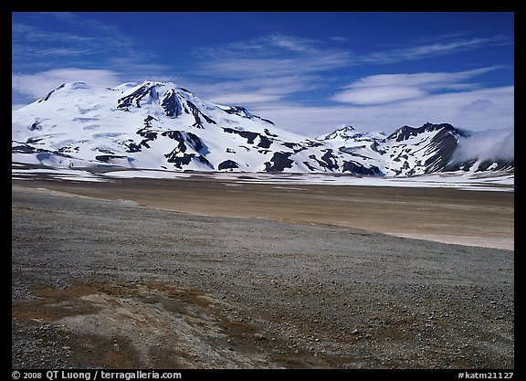 Mt Meigeck raises above the floor of the Valley of Ten Thousand Smokes. Katmai National Park (color)