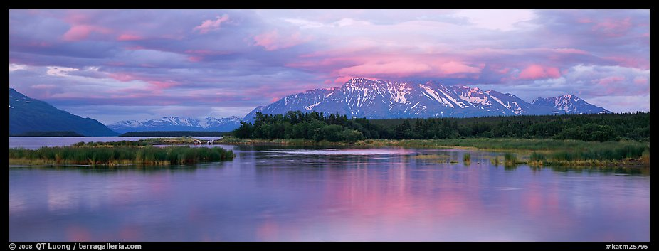Lake and mountains at sunset. Katmai National Park (color)