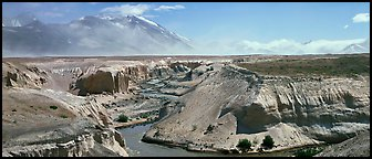 Gorge cut in volcanic ash plain, Valley of Ten Thousand Smokes. Katmai National Park (Panoramic color)