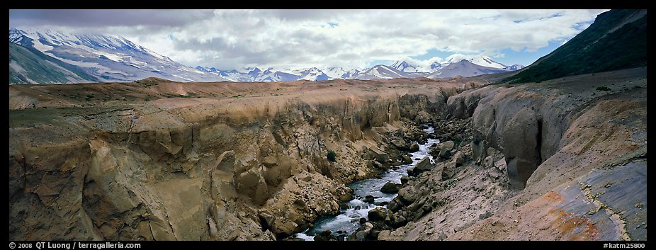 Volcanic landscape with river cutting into ash valley. Katmai National Park (color)