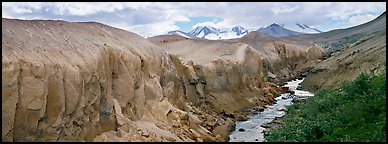 Lethe river cutting deep into ash floor, Valley of Ten Thousand Smokes. Katmai National Park (Panoramic color)