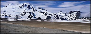 Mt Meigeck rising above floor of the Valley of Ten Thousand Smoke. Katmai National Park (Panoramic color)