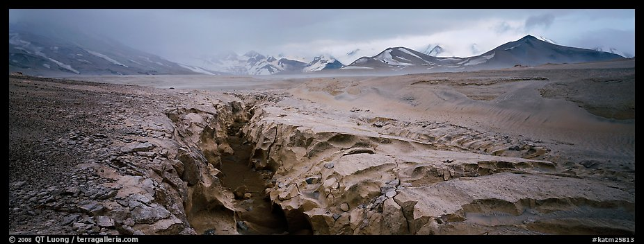 Stormy landscape with ash-covered valley and mountains. Katmai National Park (color)