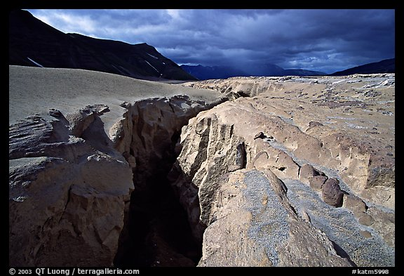 Deep gorge carved by the Lethe River, Valley of Ten Thousand Smokes. Katmai National Park (color)
