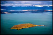 Aerial View of island in autumn foliage contrasting with blue waters, Naknek Lake. Katmai National Park ( color)