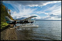 Unloading floatplane, Lake Brooks. Katmai National Park ( color)