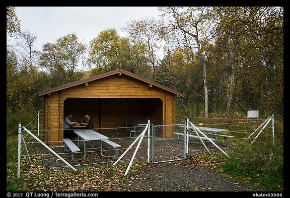 Picnic area enclosed in electric fence. Katmai National Park (color)