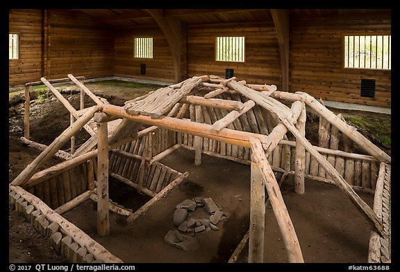 Cultural site with reconstruction of Native dwelling. Katmai National Park (color)
