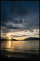 Sun rising over Naknek Lake. Katmai National Park ( color)