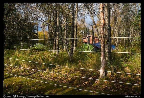 Brooks Camp campground surrounded with electric fence. Katmai National Park (color)