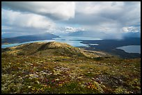 Tundra above lakes and distant rain showers. Katmai National Park ( color)