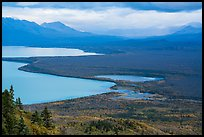 Brooks Camp and Naknek Lake from above. Katmai National Park ( color)