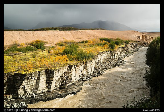 Ukak River carving gorge in Valley of Ten Thousand Smokes. Katmai National Park (color)