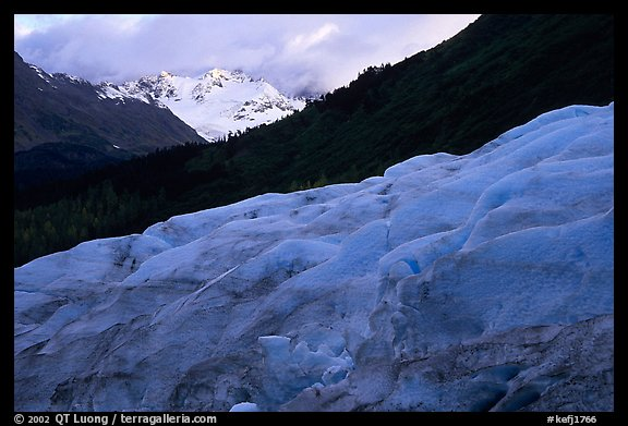 Alaskan Glacier seen from the side, and peaks. Kenai Fjords National Park (color)