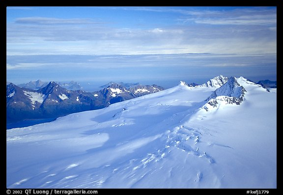 Aerial view of Harding icefield, fjords in the backgound. Kenai Fjords National Park (color)