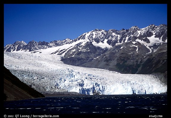 Tidewater glacier and mountains. Kenai Fjords National Park (color)