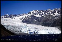 Tidewater glacier and mountains. Kenai Fjords National Park, Alaska, USA.