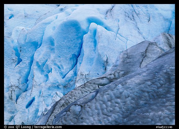 Grey and blue ice detail at the terminus of Exit Glacier. Kenai Fjords  National Park (color)