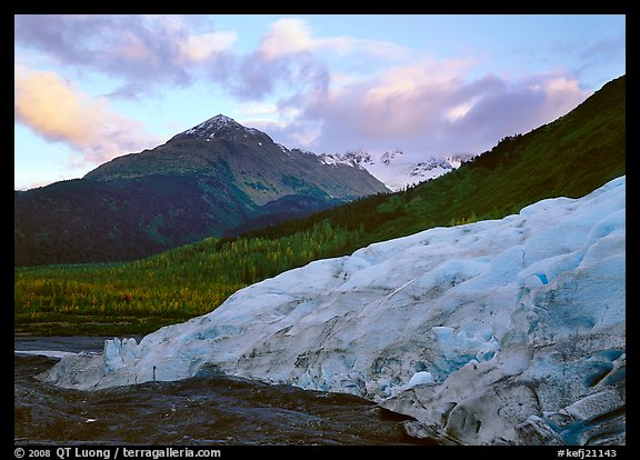 Exit Glacier and mountains at sunset, 2000. Kenai Fjords National Park (color)