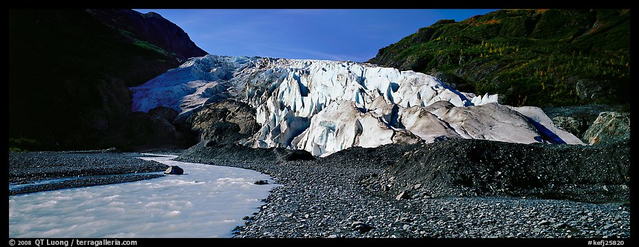 Glacial stream and Exit Glacier, 2000. Kenai Fjords National Park (color)