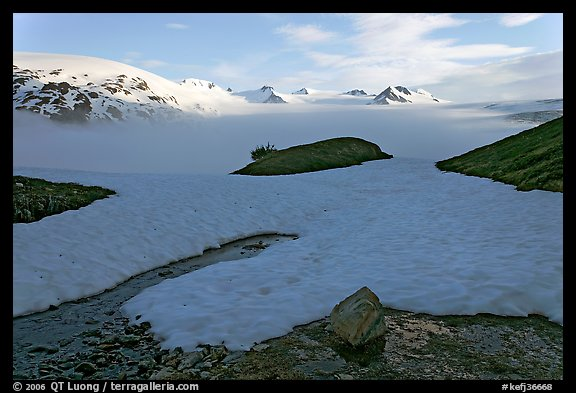 Melting neve in early summer and Harding ice field. Kenai Fjords National Park (color)