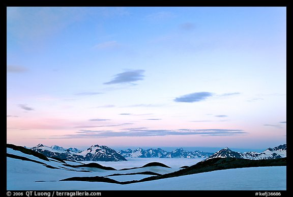 Pastel sky, mountain ranges and sea of clouds at dusk. Kenai Fjords National Park (color)