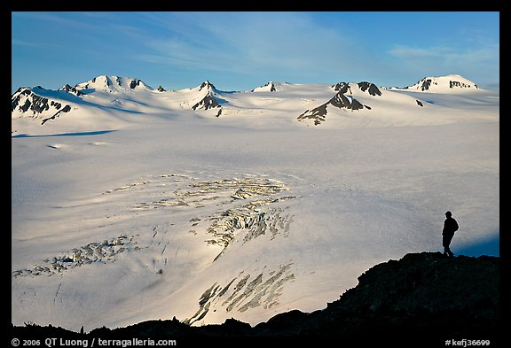 Harding icefield with man standing in the distance. Kenai Fjords National Park (color)