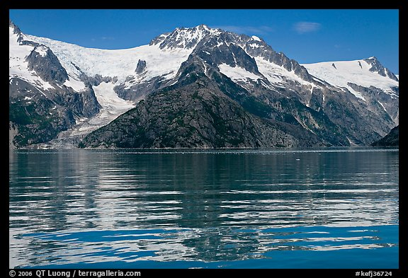 Rippled refections of peaks and glaciers, Northwestern Fjord. Kenai Fjords National Park (color)
