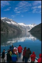 Mountains reflected in fjord, seen by tour boat passengers, Northwestern Fjord. Kenai Fjords National Park ( color)