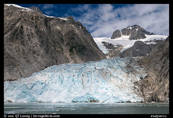 Northwestern tidewater glacier and steep cliffs, Northwestern Fjord. Kenai Fjords National Park (color)