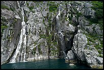 Waterfalls streaming into the ocean, Cataract Cove, Northwestern Fjord. Kenai Fjords National Park ( color)
