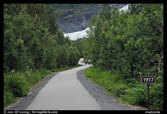Exit Glacier trail with marker showing glacial retreat. Kenai Fjords National Park, Alaska, USA.