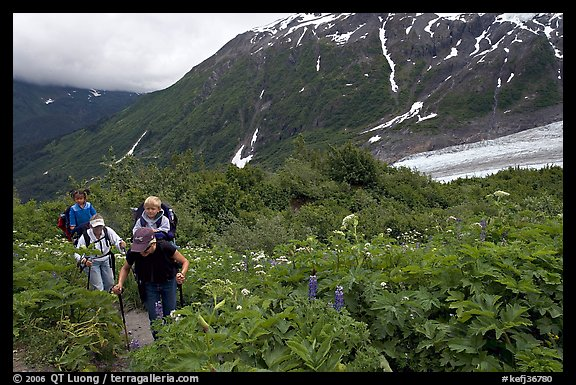 Women with child carrier backpacks on Harding Icefield trail. Kenai Fjords National Park (color)