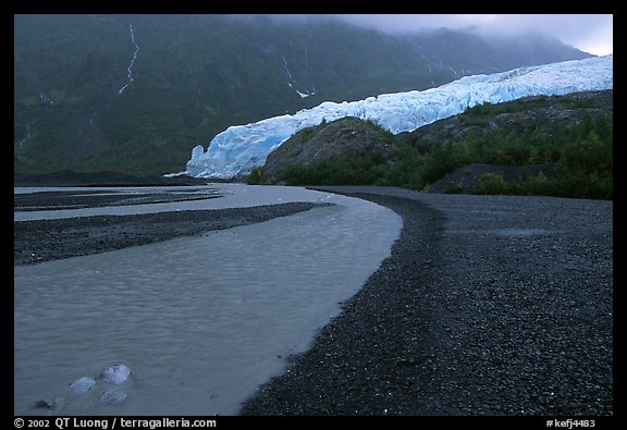 Glacial stream, Exit Glacier and outwash plain, 2002. Kenai Fjords National Park (color)