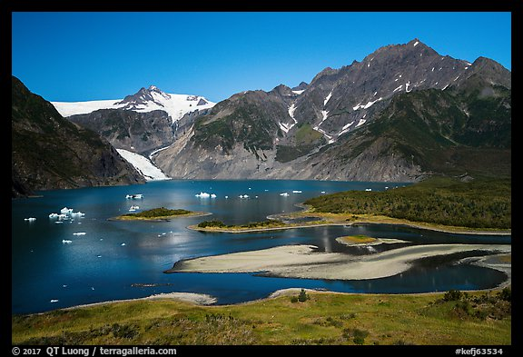 Aerial View of Pedersen Lagoon and Glacier. Kenai Fjords National Park (color)