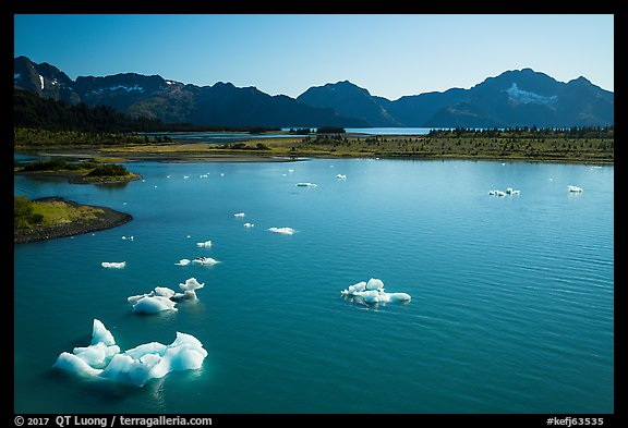 Aerial View of icebergs in Pedersen Lagoon. Kenai Fjords National Park (color)