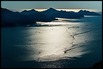 Aerial View of backlit Aialik Bay. Kenai Fjords National Park ( color)