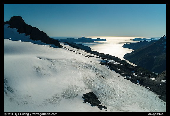 Aerial View of Harding Icefield above Holgate Arm. Kenai Fjords National Park (color)
