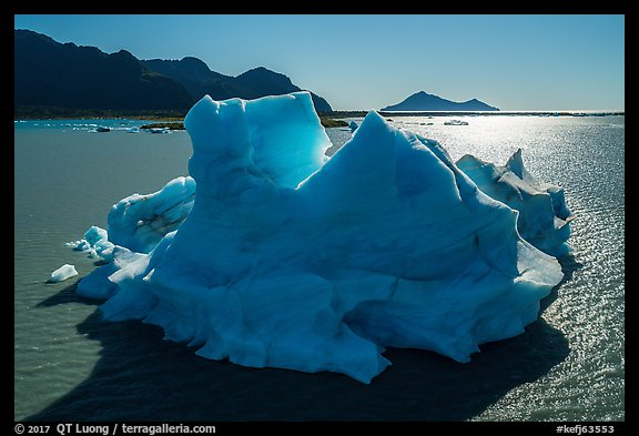 Aerial View of iceberg in Bear Glacier Lagoon. Kenai Fjords National Park (color)