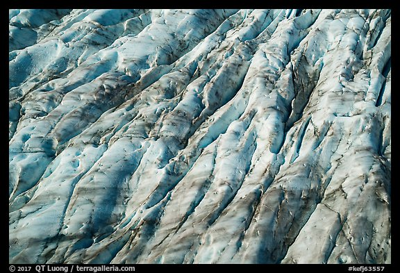 Aerial View of Bear Glacier crevasses. Kenai Fjords National Park (color)