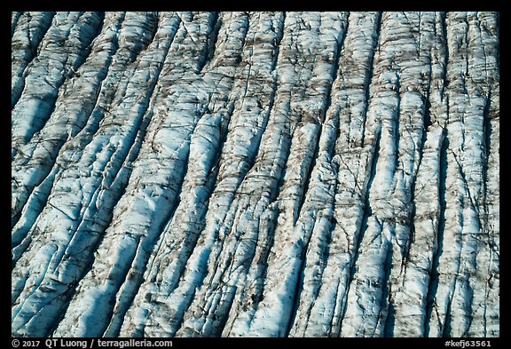Aerial View of crevassed surface of Bear Glacier. Kenai Fjords National Park (color)