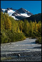 Stream and Phoenix Peak, Exit Glacier outwash plain. Kenai Fjords National Park ( color)
