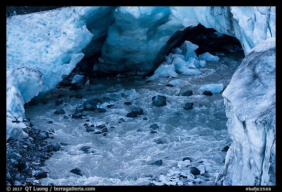 Glacial stream flowing out of ice tunnel, Exit Glacier. Kenai Fjords National Park (color)