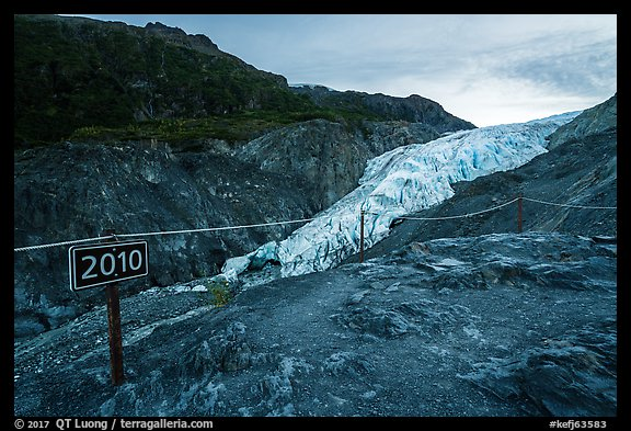 Sign indicating location of Exit Glacier in 2010. Kenai Fjords National Park (color)